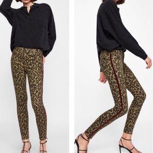 Zara leopard print skinny jeans with tuxedo stripe